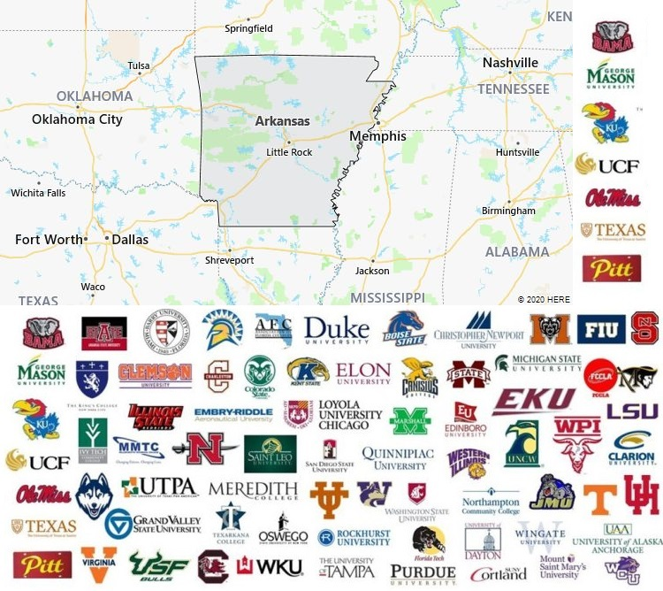 map of colleges in arkansas Local Colleges And Universities In Arkansas Usa map of colleges in arkansas