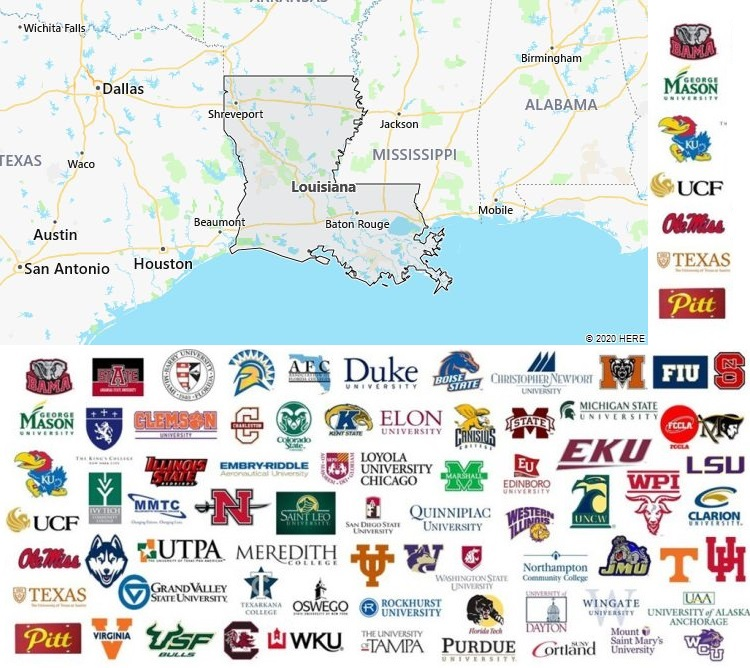 colleges in louisiana map Local Colleges And Universities In Louisiana Usa colleges in louisiana map